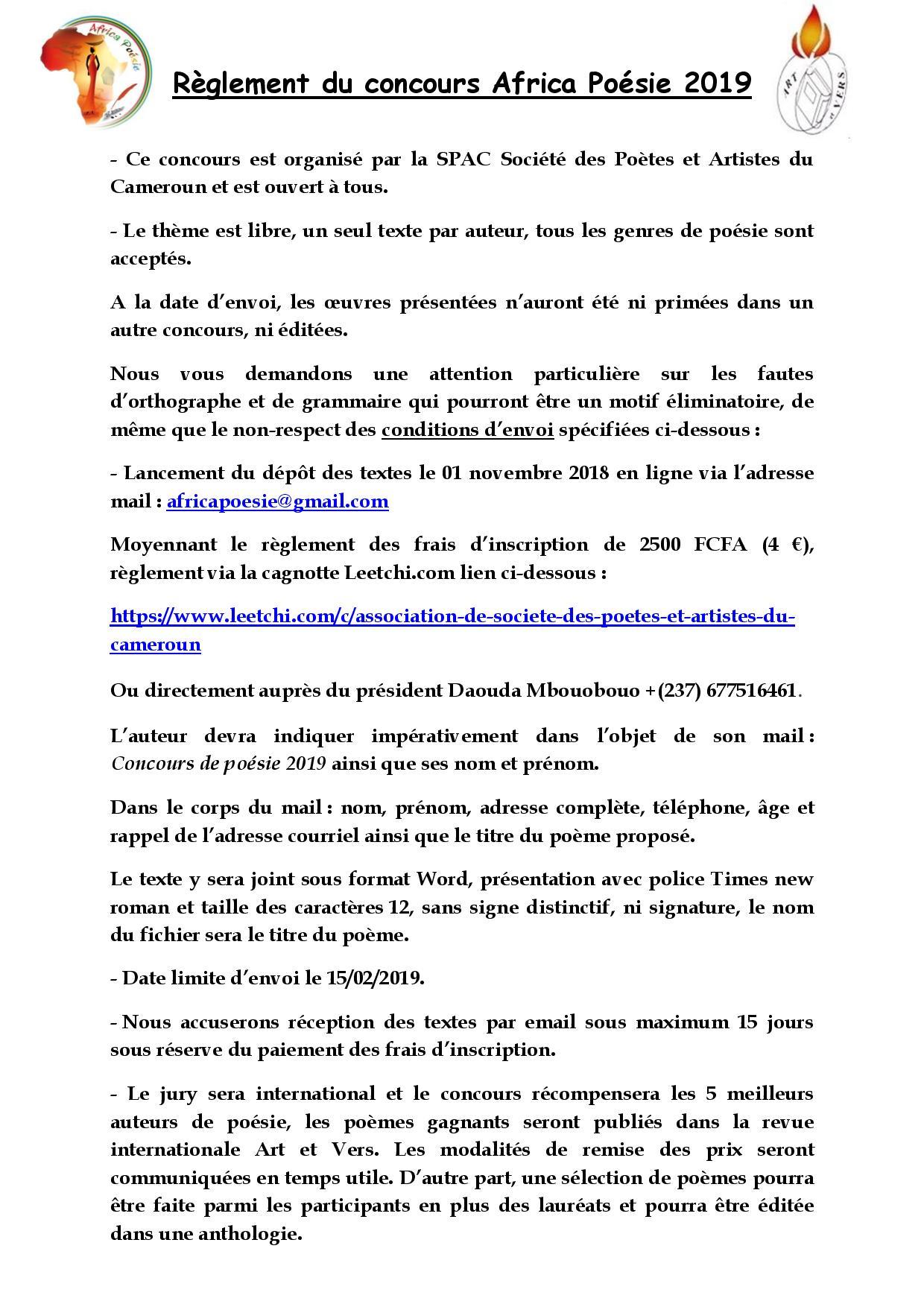 Reglement du concours africa poesie 2019